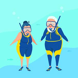 水下,祖母,套装,幸福,浮潜,祖父,老年伴侣,背景聚焦,平衡折角灯,动作