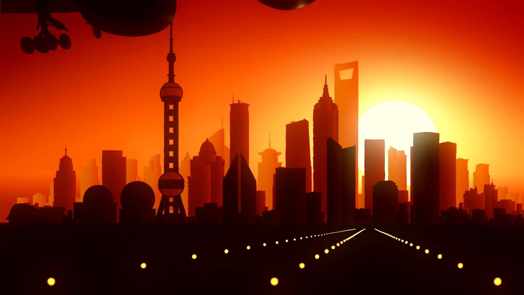 上海飞机降落天际线金色背景