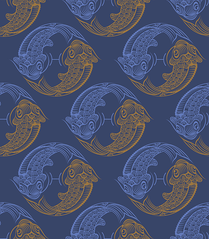 鱼类,四方连续纹样,华丽的,传统,简单,壁纸,弯曲,流动