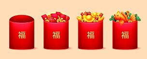 中国,红色,文字,符号,运气,鼠年,信封,婚礼,节日,亚洲
