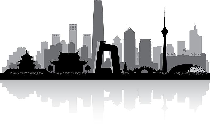 城市天际线,城市,矢量,亚洲,旅途,商务,摩天大楼,剪影