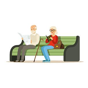 老年人,长椅,木制,公园,白色,书,祖母,男人,坐,读书