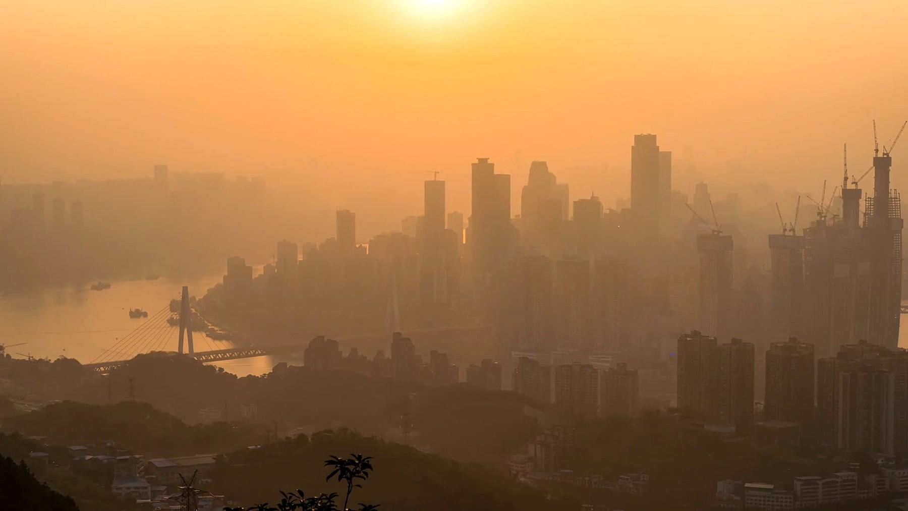 重庆城市天际线日夜流逝