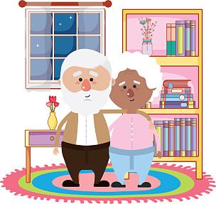 祖父母,可爱的,伴侣,卡通,老年人,家庭,孙辈,孙女,祖父,祖母