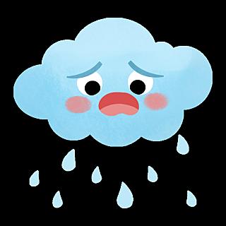 卡通风天气贴纸-下雨