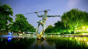 西湖渔民雕像,时光流逝
