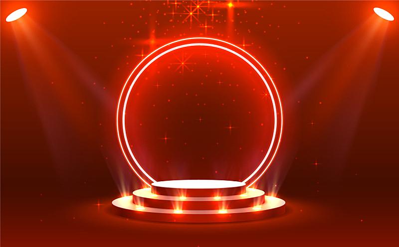 舞台,指挥台,景象,颁奖典礼,红色,矢量,三维图形,光,明亮,照亮