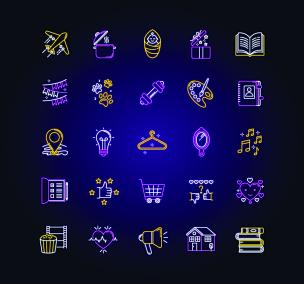 配方,标志,计算机图标,礼物,霓虹灯,业余爱好,矢量,学校体育馆,开着的,松弛练习
