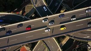 中国上海城市晴天著名交通道路交汇中心空中俯视