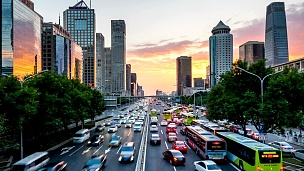 北京快速路的繁忙的交通,延时,傍晚