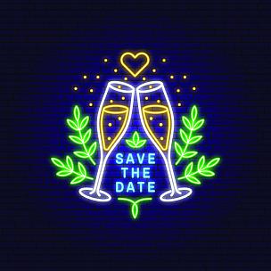 请柬,模板,香槟杯,矢量,婚礼,证章,霓虹灯,计算机图标,几何形状,设计