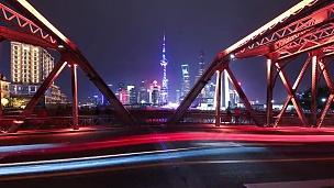 T/L WS LA上海外白渡桥交通灯小径和夜间城市景观