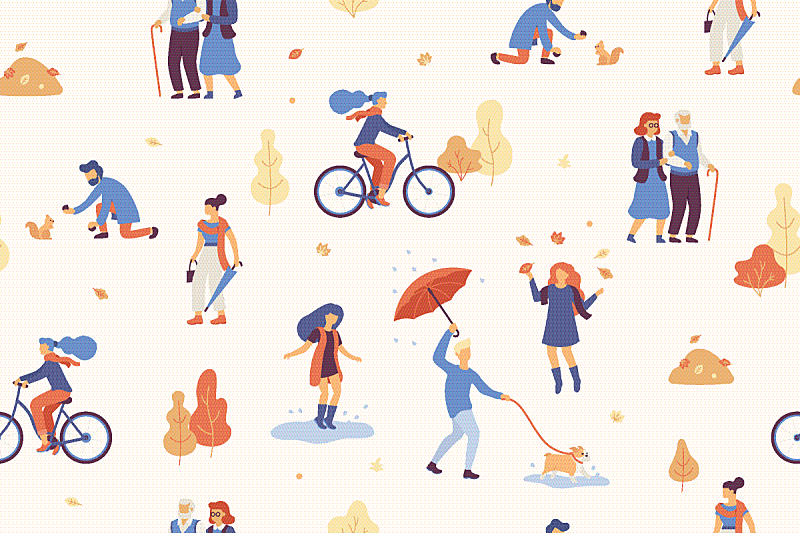 秋天,公园,人,乐趣,九月,十月,浪漫,步行,树,爱