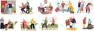 elderly couples cartoon hand drawn old characters