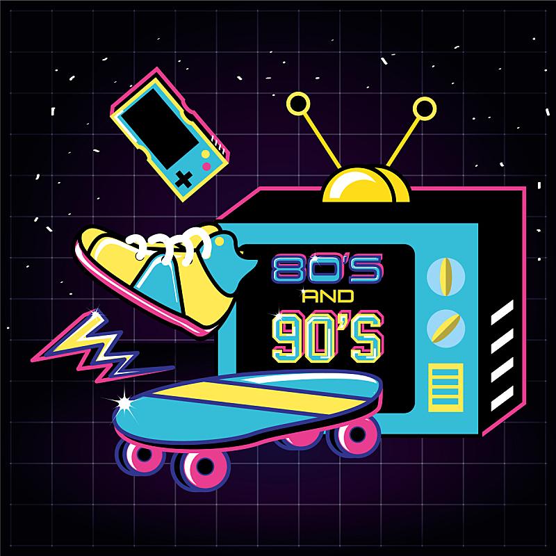 90年代风格,计算机图标,电视机,扁平化设计,技术员,古老的,概念,过时的,收集,复古