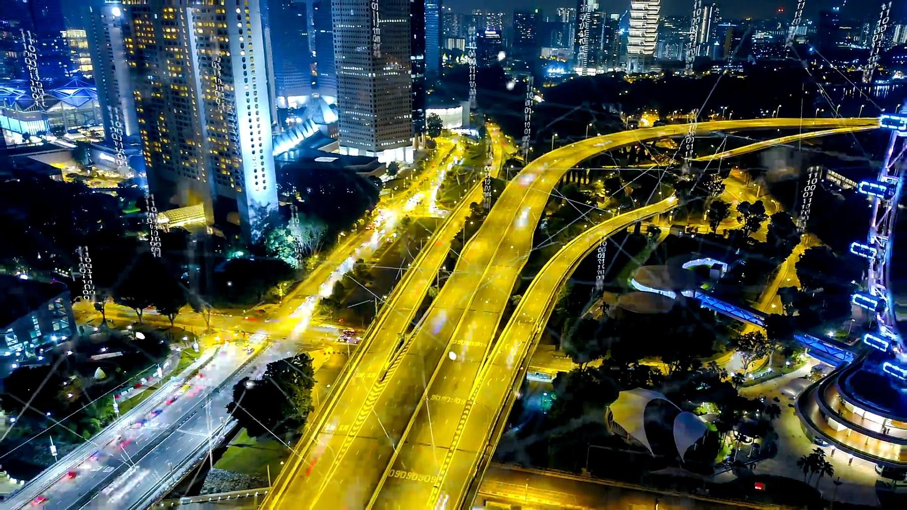 鸟瞰新加坡现代城市和通讯网络,智慧城市。物联网。信息通信网。传感器网络。智能电网。概念抽象。
