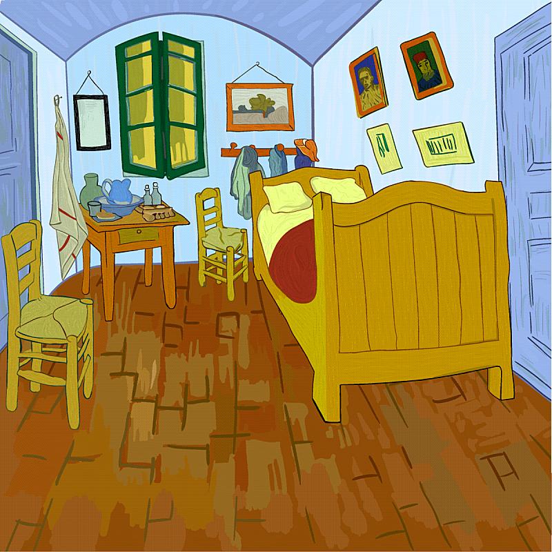 卧室,梵高,创造力,艺术家,概念,名声,绘制,作画,复古