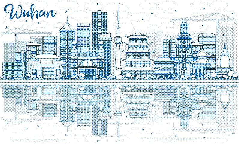 城市天际线,轮廓,蓝色,建筑外部,建筑,云,人,矢量,旅途