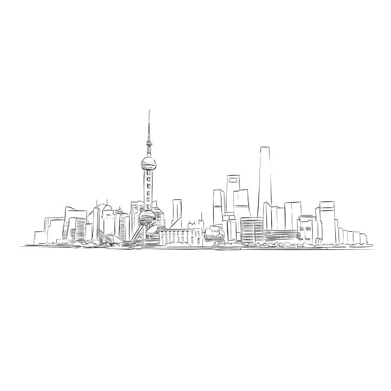 上海,草图,手,都市风景,城市,建筑,办公大楼,矢量,绘制