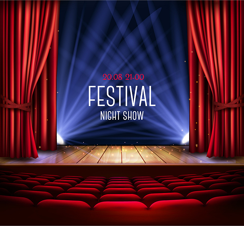 舞台,红色,窗帘,剧院,概念,夜晚,图像,水滴,天鹅绒,装饰