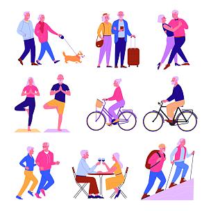 老年人,休闲活动,老年男人,运动,背景分离,慢跑,狗,女人,自行车,餐馆