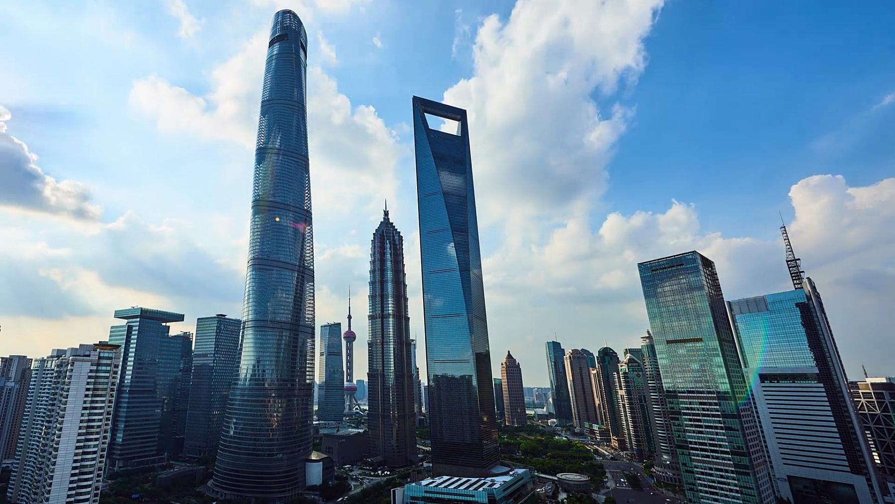 上海陆家嘴金融区日落时分