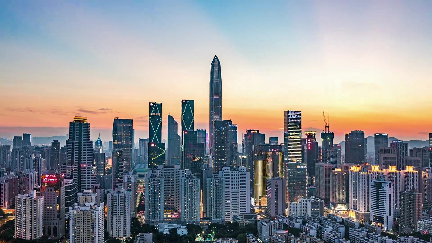 深圳现代建筑外墙,延时摄影