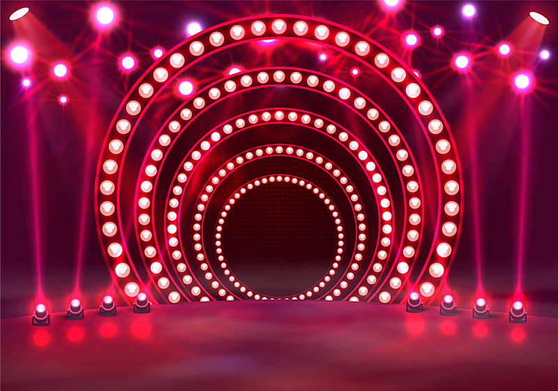 红色,指挥台,有奖电视大赛主持人,舞台,夜晚,圆形,闪亮的,点燃,发光,照亮