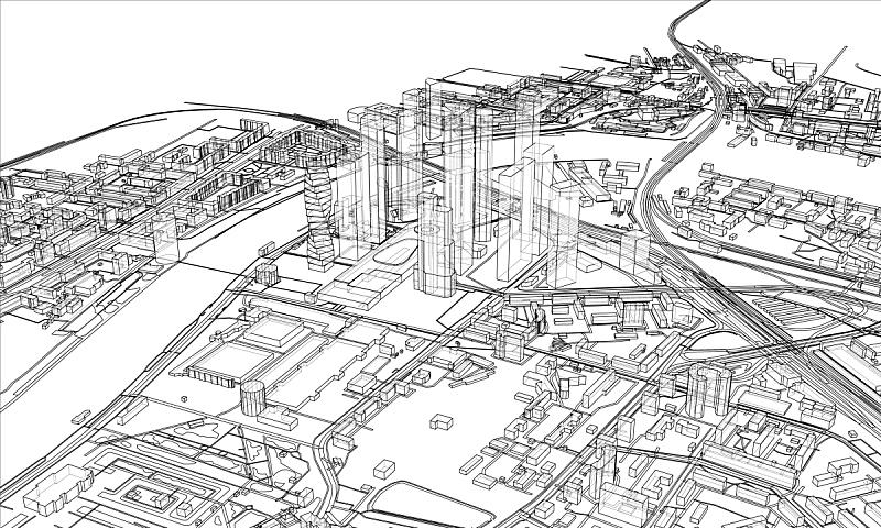 城市,轮廓,概念,金属丝,建筑结构,时尚,航拍视角,草图,三维图形,路