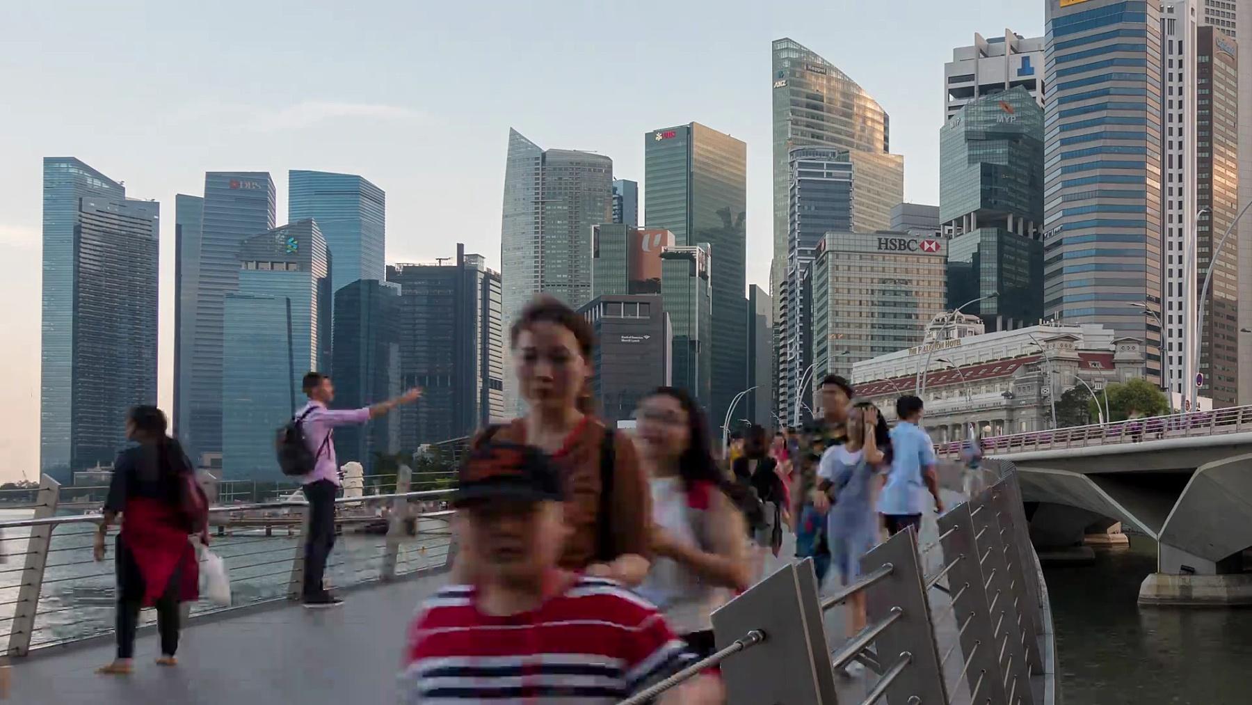 新加坡城市中央商务区的天际线