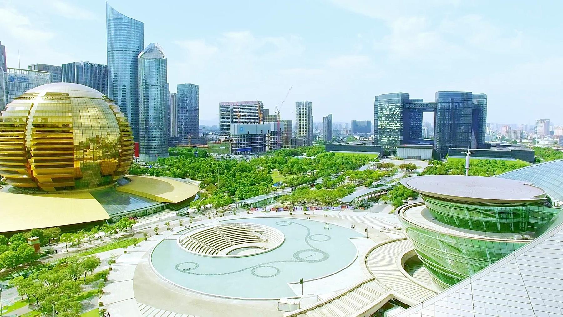 杭州蓝天现代城市无人机拍摄