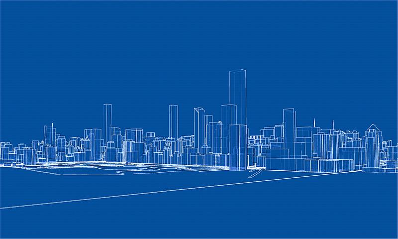 城市,轮廓,概念,时尚,金属丝,建筑结构,航拍视角,现代,建筑业,剪影
