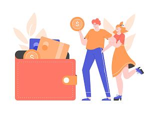 钱包,青年伴侣,信用卡,几乎,经理,家庭,婚姻,策略,帐单,金融顾问