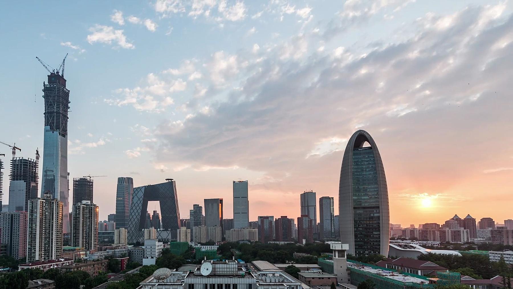T/L WS PAN摩天大楼天际线全景屋顶/中国北京