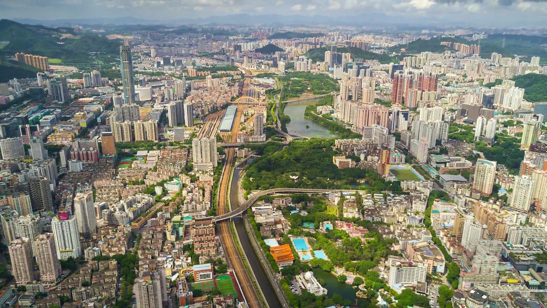 中国深圳城市风光晴天航空全景图  Timelapse
