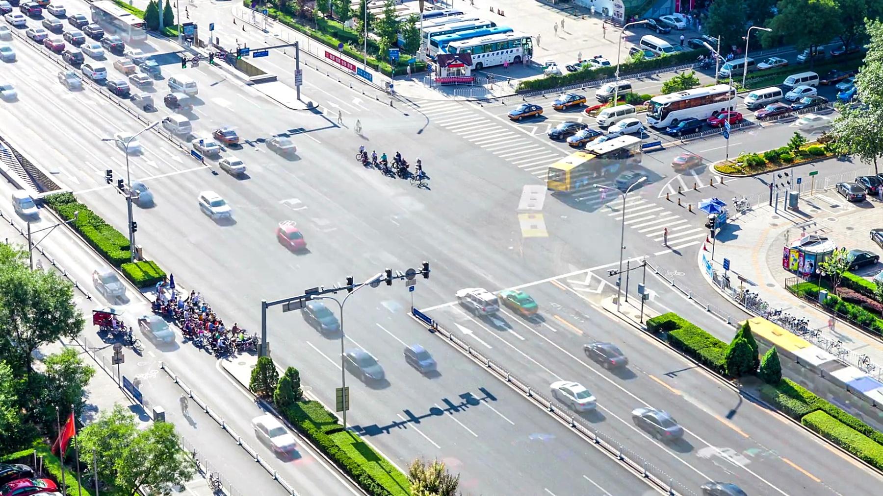 北京的现代城市交通,时光流逝。