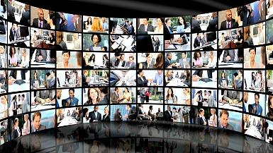 多民族企业经理工作城市的3D墙壁蒙太奇