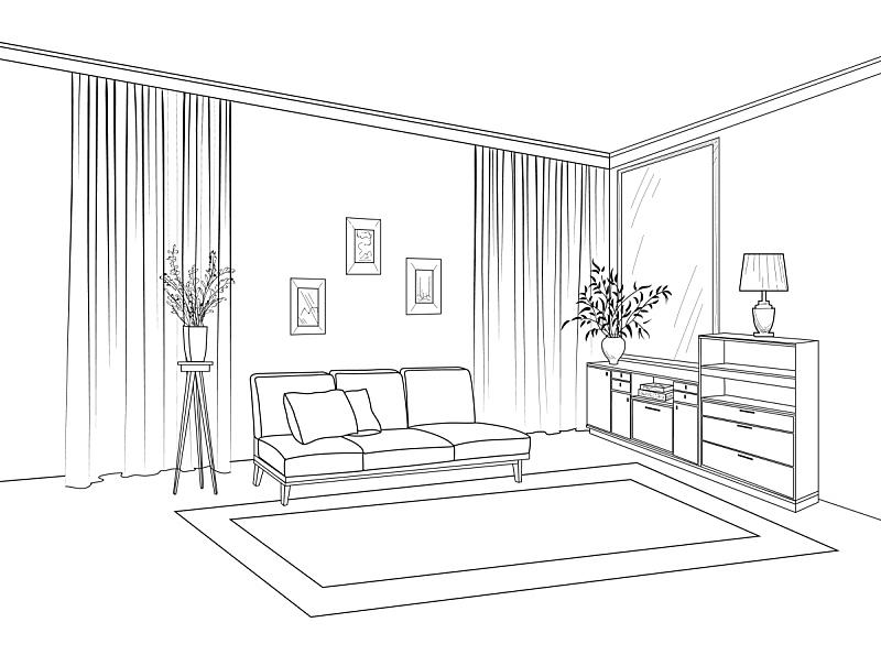 草图,起居室,室内,轮廓,住宅内部,窗户,沙发,图像,房屋,装修