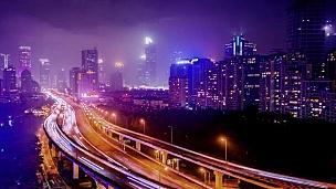 中国上海公路与交通的延时摄影