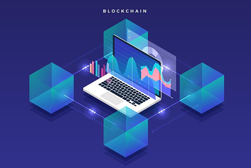 区块链,概念,扁平化设计,数据,矢量,图像,三维图形,金融,部分
