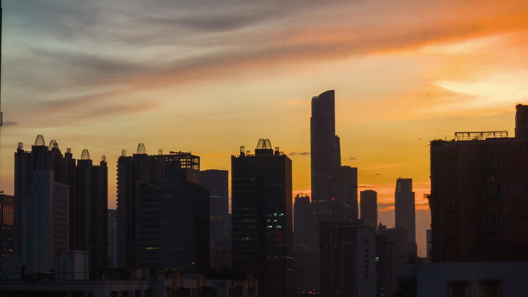 日落天空广州市市中心全景 延时中国