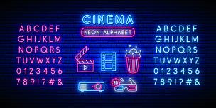 明亮,照明设备,霓虹灯,爆米花,文字,数字,布告,电影,字母,矢量