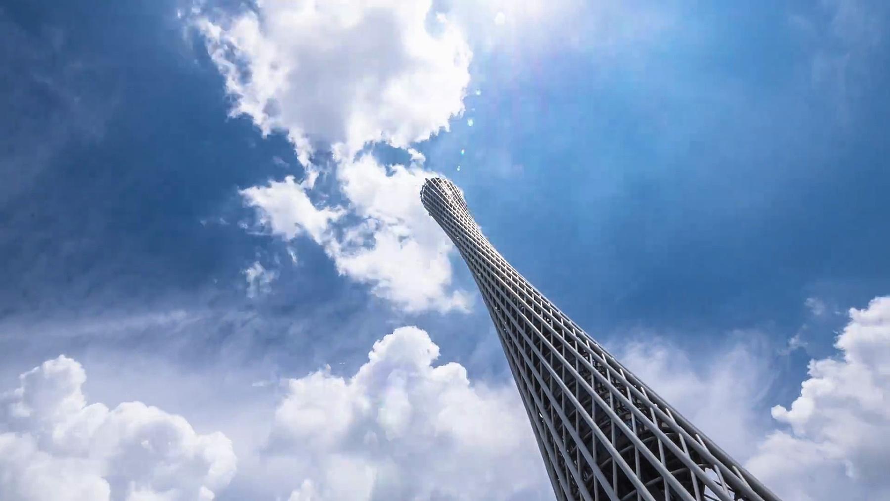 云天中的标志性广州塔。时间间隔
