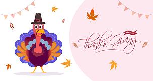 鸟类,火鸡,绘画插图,幸福,秋天,叶子,式样,朝圣帽