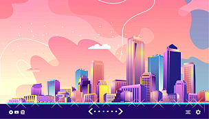城市,抽象,未来,新创企业,商务,计划书,模板,现代,联系