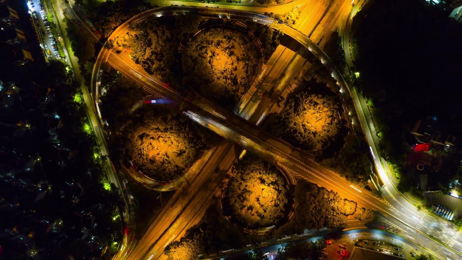 中国夜景深圳市著名交通道路交叉口空中全景俯视 时差