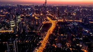 黎明时的上海鸟瞰,延时摄影