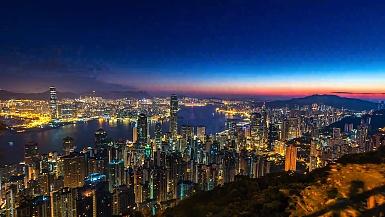 ,延时摄影香港城市景观在早晨日出时间在维多利亚港