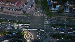 日间珠海市交通十字路口空中俯视 中国