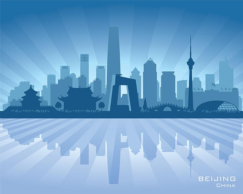 城市天际线,城市,商务,现代,自然美,海岸线,湖,剪影